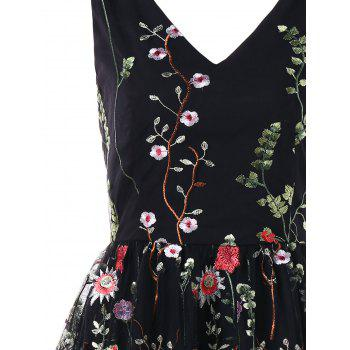 Double V Neck Embroidered Party Dress - BLACK XL