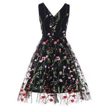 Double V Neck Embroidered Party Dress - BLACK L