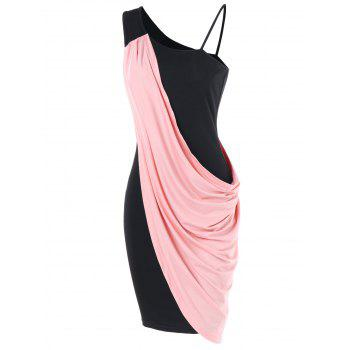 One Shoulder Overlay Bodycon Dress - LIGHT PINK M