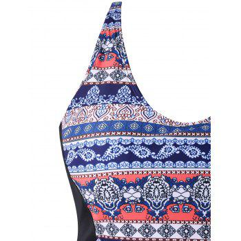 Back Criss Cross Plus Size Printed Swimwear - multicolor 3X