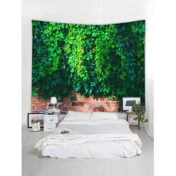 Vine Brick Wall Pattern Tapestry Hanging Decor - DEEP GREEN W79 INCH * L71 INCH