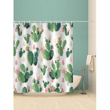 Handpainted Cactus Waterproof Shower Curtain - multicolor W71 INCH * L79 INCH