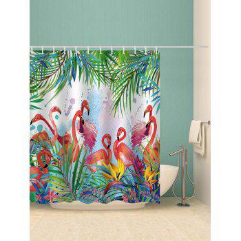 Flamingos Feast Printed Waterproof Shower Curtain - multicolor W65 INCH * L71 INCH