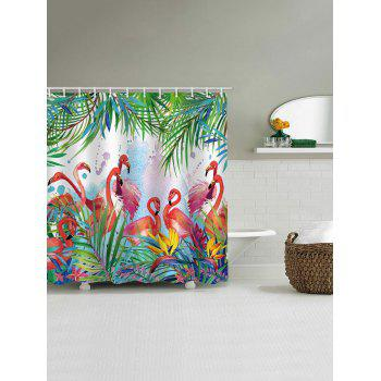 Flamingos Feast Printed Waterproof Shower Curtain - multicolor W71 INCH * L79 INCH