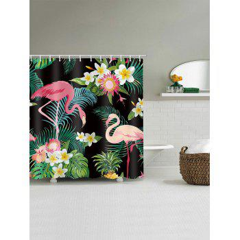 Flamingo Palm Leaf Waterproof Shower Curtain - multicolor W65 INCH * L71 INCH
