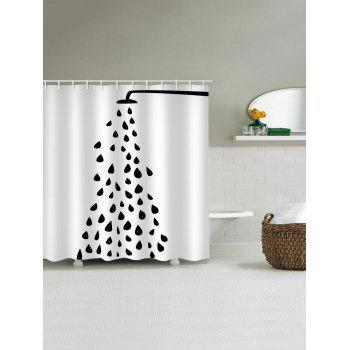 Open Shower Nozzle Pattern Shower Curtain - WHITE W65 INCH * L71 INCH