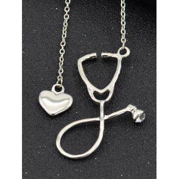 Vintage Stethoscope Heart Pendant Necklace Jewelry - SILVER