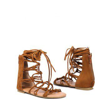 Plus Size Crisscross Leisure Flat Heel Lace Up Sandals - LIGHT BROWN 41