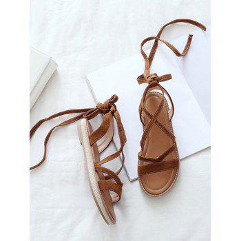 Plus Size Ankle Strap Chic Lace Up Sandals - BROWN 37