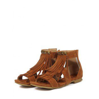 Plus Size Leisure Ankle Strap Fringes Sandals - LIGHT BROWN 42