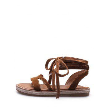 Plus Size Ankle Strap Chic Lace Up Sandals - BROWN 38