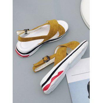 Plus Size Crisscross Leisure Platform Sandals - BEE YELLOW 40