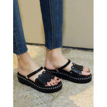 Plus Size Reversible Platform Heel Studded Slide Sandals - BLACK 38