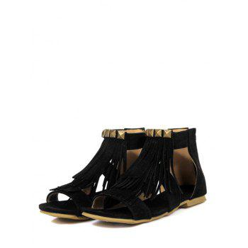Plus Size Leisure Ankle Strap Fringes Sandals - BLACK 43