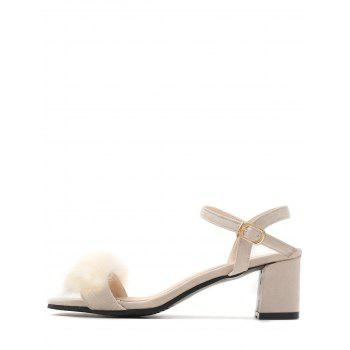 Plus Size Furry Chunky Heel Ankle Wrap Sandals - BEIGE 42