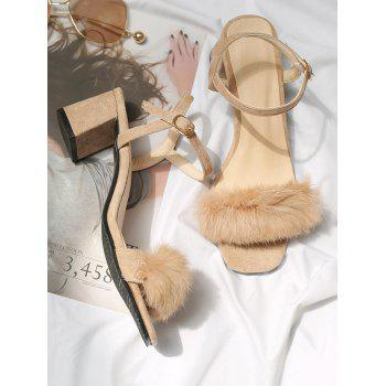Plus Size Furry Chunky Heel Ankle Wrap Sandals - APRICOT 38