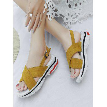 Plus Size Crisscross Leisure Platform Sandals - BEE YELLOW 41