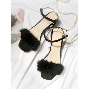 Plus Size Furry Chunky Heel Ankle Wrap Sandals - BLACK 38