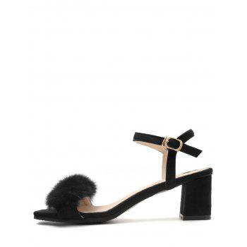 Plus Size Furry Chunky Heel Ankle Wrap Sandals - BLACK 41