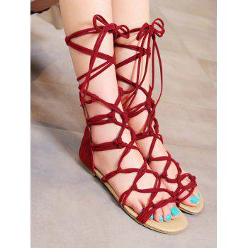 Plus Size Crisscross Leisure Flat Heel Lace Up Sandals - RED WINE 37