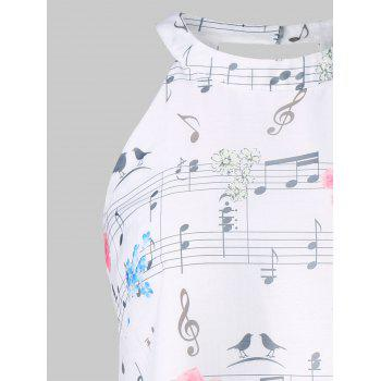 Music Printed Jewel Neck Tank Top - WHITE L