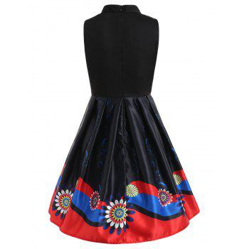 Print Sleeveless Swing Vintage Dress - BLACK S