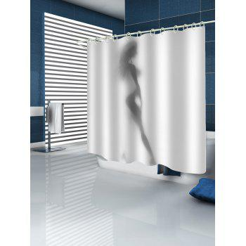 Sexy Silhouette Print Waterproof Shower Curtain - WHITE W65 INCH * L71 INCH