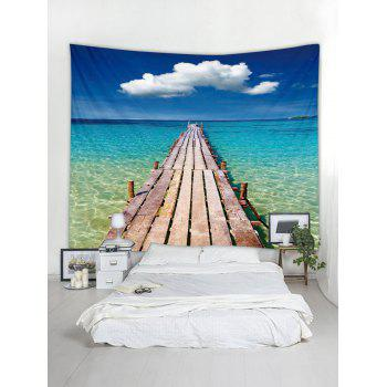 Seascape Wooden Board Pattern Tapestry Hanging Decor - multicolor W91 INCH * L71 INCH