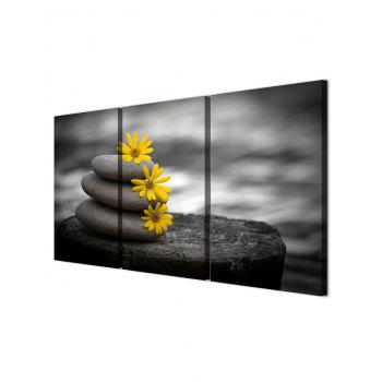 Stone and Flowers Print Unframed Canvas Paintings - multicolor 3PC:12*18 INCH( NO FRAME )