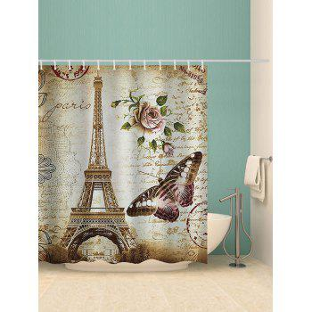 Effiel Tower Stamp Print Waterproof Shower Curtain - multicolor W71 INCH * L79 INCH