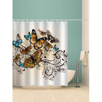 Butterflies Print Waterproof Shower Curtain - multicolor W65 INCH * L71 INCH