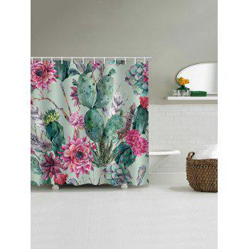 Succulents Flowers Print Waterproof Shower Curtain - multicolor W59 INCH * L71 INCH