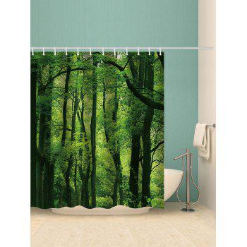 Forest Print Waterproof Shower Curtain - GREEN W71 INCH * L79 INCH