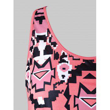 Plus Size Tribal Print Tunic Tank Top - WATERMELON PINK 4X