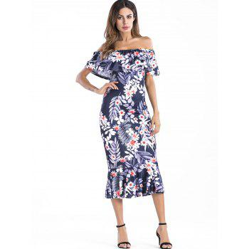 Ruffle Insert Off The Shoulder Floral Dress - multicolor L