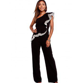 Striped Flounce Insert One Shoulder Jumpsuit - BLACK XL