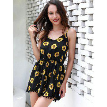 Sunflower Print Romper - BLACK S