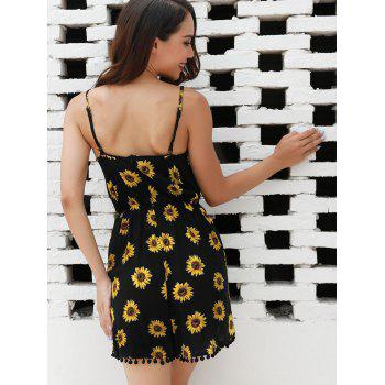 Sunflower Print Romper - BLACK L