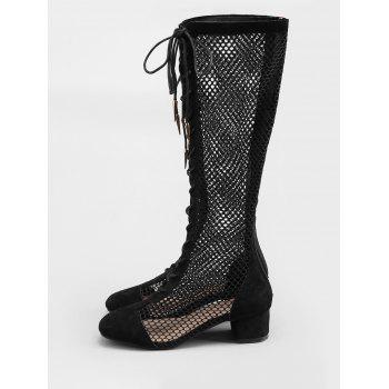 Low Heel Hollow Out Mesh Mid Calf Boots - BLACK 40