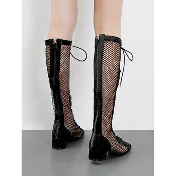 Low Heel Hollow Out Mesh Mid Calf Boots - BLACK 36