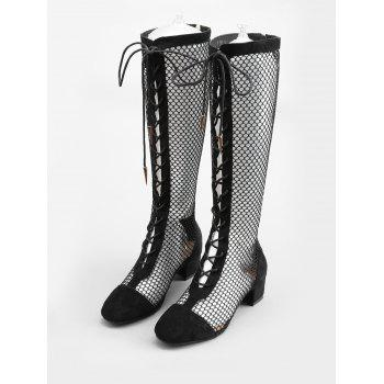 Low Heel Hollow Out Mesh Mid Calf Boots - BLACK 35
