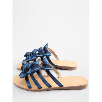 Flat Heel Bowknot Casual Thong Sandals - EARTH BLUE 38