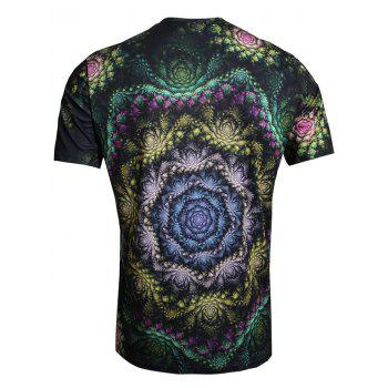 T-shirt Floral Multi-couches Imprimé à Col Rond - multicolor XL