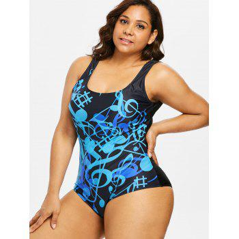Plus Size Padded Musical One Piece Swimwear - BLUE L