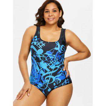 Plus Size Padded Musical One Piece Swimwear - BLUE 3X