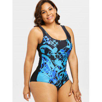 Plus Size Padded Musical One Piece Swimwear - BLUE 4X