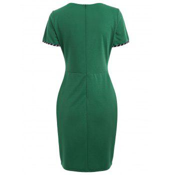 Striped Panel Knee Length Dress - GREEN 2XL