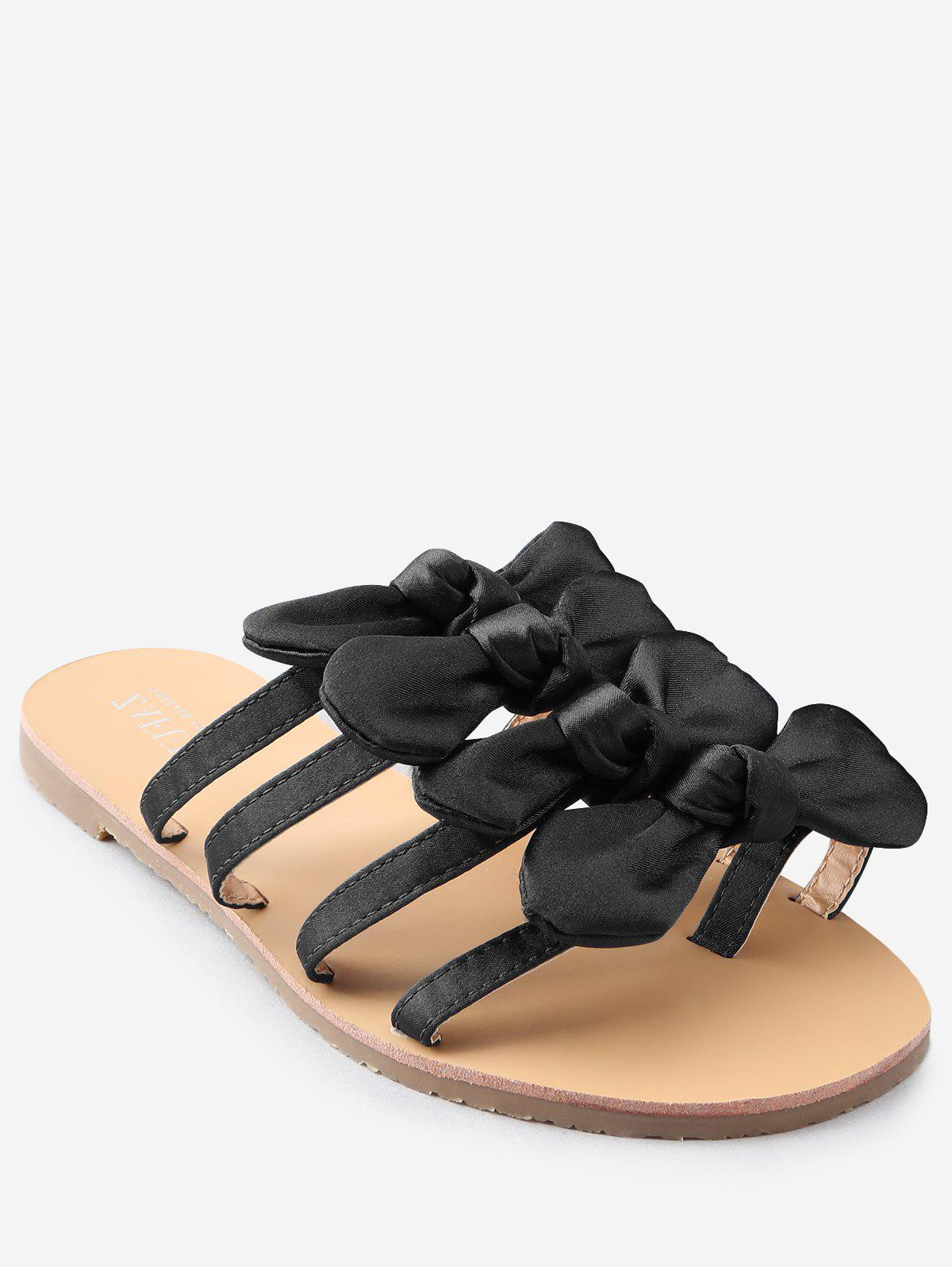 Flat Heel Bowknot Casual Thong Sandals - BLACK 35