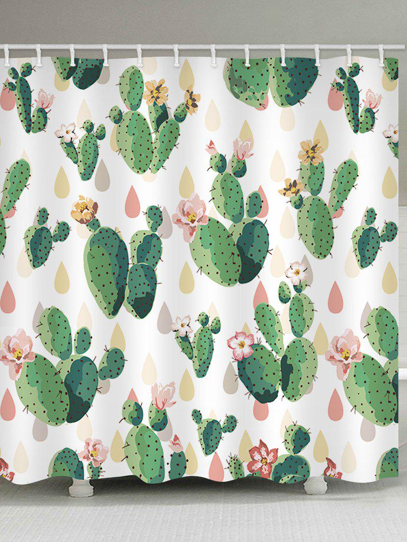 Handpainted Cactus Waterproof Shower Curtain - multicolor W65 INCH * L71 INCH