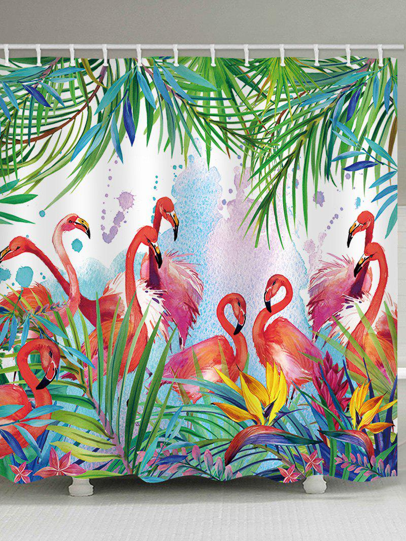 Flamingos Feast Printed Waterproof Shower Curtain - multicolor W71 INCH * L71 INCH